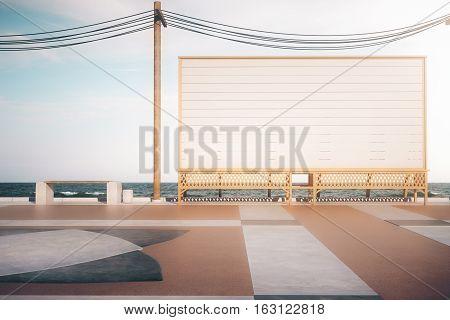 Empty Deck Beach Banner