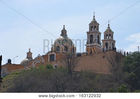 Our lady of the Remedies Church sits on top of the Great pyramid in Cholula, Puebla, Mexico
