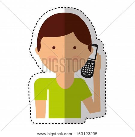 man calling with cellphone character vector illustration design
