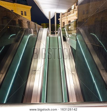 Escalator in motion at night long time exposure