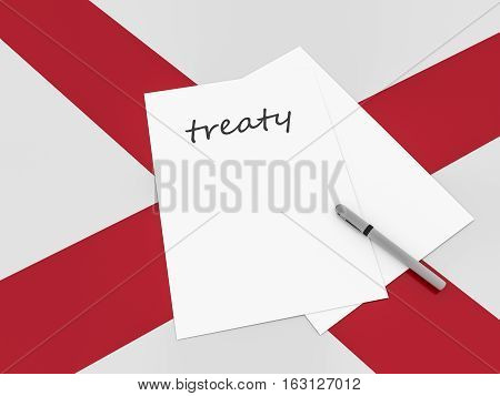 Treaty Note With Pen On Alabama Flag 3d illustration