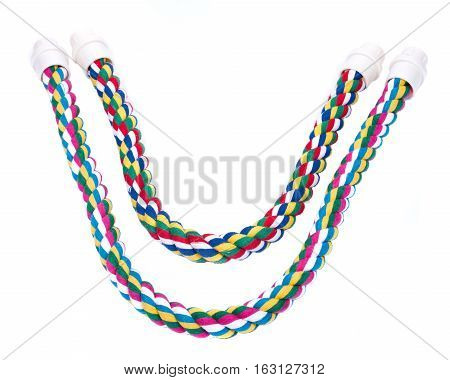 Cotton rope comfy perches for macaws and other large parrots isolated on white background