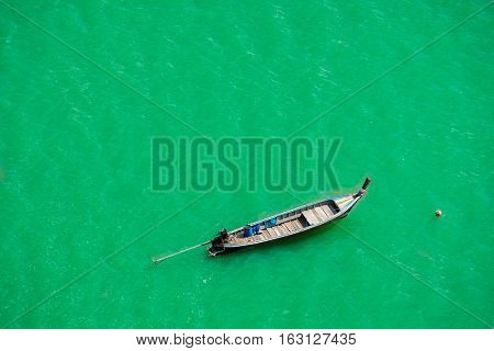 Top view thai longtail boat Andaman Sea Thailand