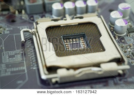 Closeup CPU Socket in main board circuit