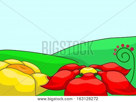 Large red and yellow flowers on a green glade.