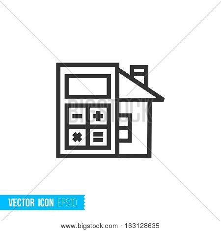Real estate outline vector icon. Calculator concept
