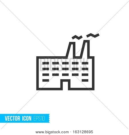 Industrial real estate concept outline vector icon