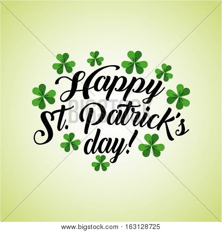 Saint Patrick's Day card with clovers icon around. colorful design. vector illustration