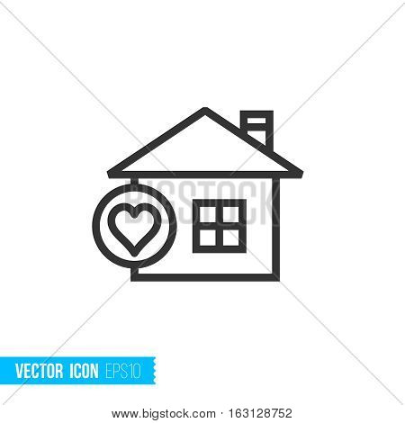 Liked collection concept. Real estate outline vector icon
