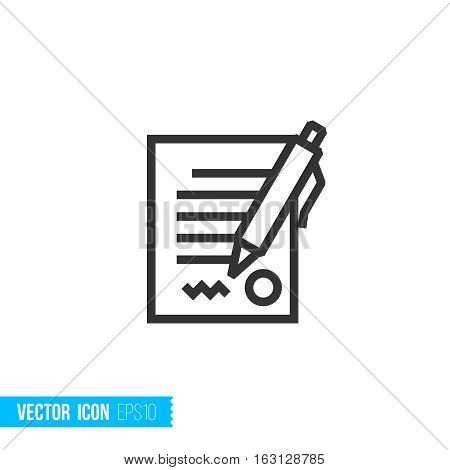 Contract agreement concept. Real estate outline vector icon