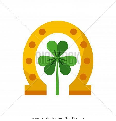 green clover and gold horseshoe icon over white background. Saint Patrick's Day concept. colorful design. vector illustration