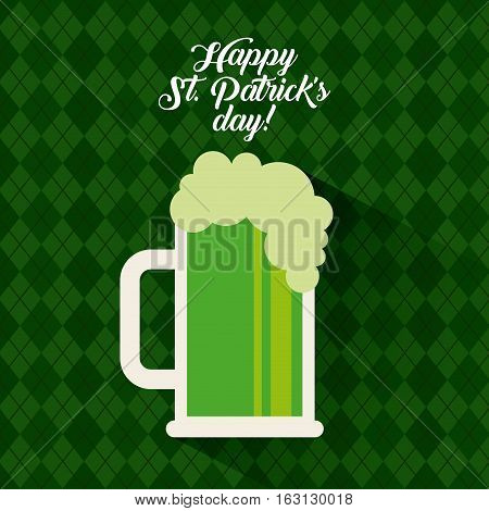 Saint Patrick's Day card with beer jar icon over green background. colorful design. vector illustration