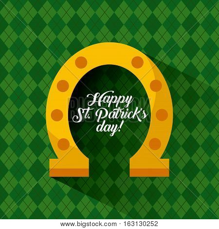 Saint Patrick's Day card with gold horseshoes icon over green background. colorful design. vector illustration