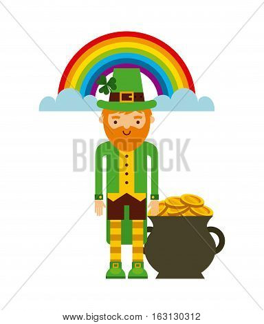 cartoon irish leprechaun man with A Pot with Gold coins and rainbow  icon over white background. Saint Patrick's Day concept. colorful design. vector illustration