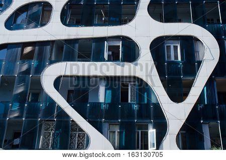 BATUMI ,ADJARA,GEORGIA - OCTOBER 22: contemporary residential building located near the seafront on October 22,2016 in Batumi.