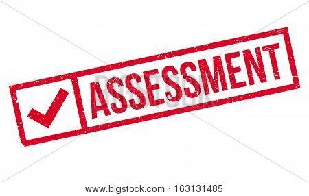 Assessment stamp. Grunge design with dust scratches. Effects can be easily removed for a clean, crisp look. Color is easily changed.