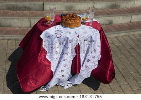 festive wedding table piled with food, wedding decor