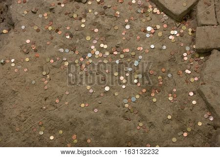some pennies on offer in the ground
