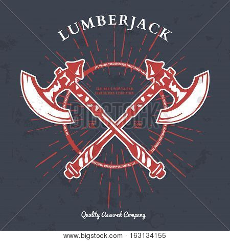 Crossed Axes Lumberjack Graphic Tee. Vector T-print Illustration