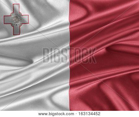 Malta flag. Flag with a beautiful glossy silk texture. 3D illustration.