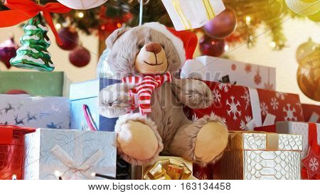 Gifts under the tree for Christmas day with teddy bear oil paint filter