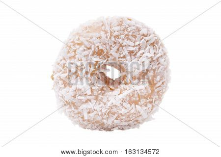 Coconut Donut isolated over white background.  Unhealthy Eating