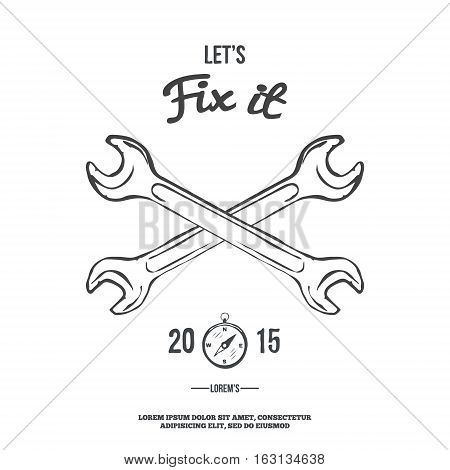Crossed spanners. Lets fix it. Vector illustration
