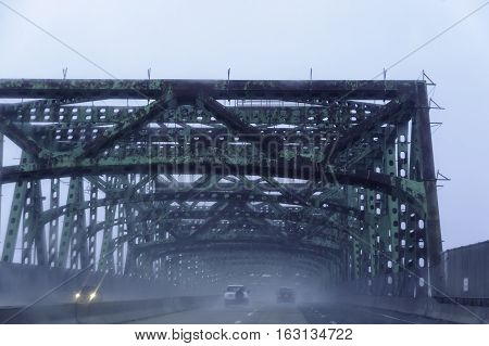 Braga Bridge in Fall River Massachusetts before extensive repairs completed in 2016