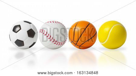 4 small balls isolated over white, soccer, baseball, basketball and tennis ball