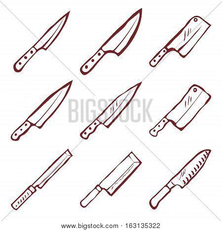 Set of nine kitchen knives vector illustration
