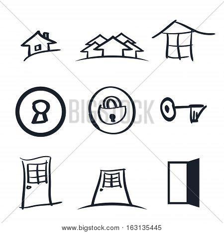 Set of nine rea lestate logos vector illustration