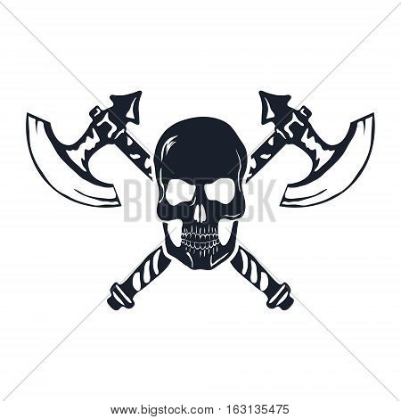 Skull with Crossed Axes isolated on white. Vector illustration