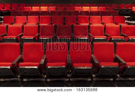 Four Rows of Empty Red Theater Seating