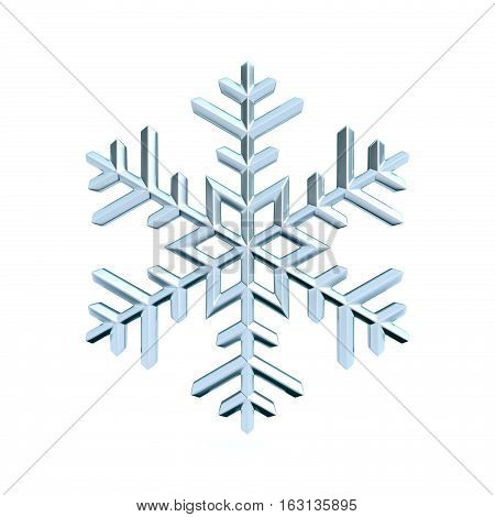 Snowflake 3D render illustration isolated on white background