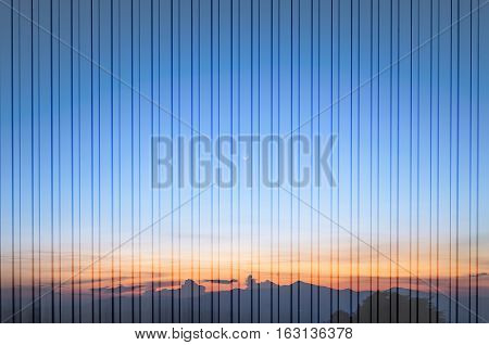 Th abstract scene of sunset with the vertical line texture