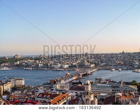 Panoramic View Of Istanbul At The Sunset