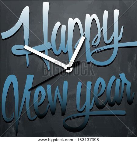 Happy New Year background with clock. Vector illustration