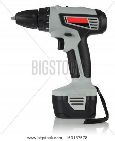 new powerful cordless drill on white background