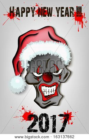 Skull Scary Evil Clown In Santa Hat