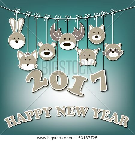 Happy New Year 2017 And Forest Animals