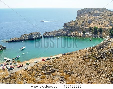 Aerial View Of Saint Paul Bay And Beach In Lindos