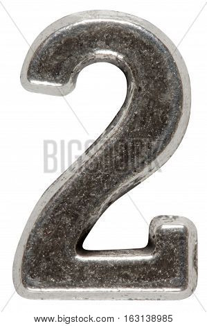 Metal numeral 2 two isolated on white background with clipping path