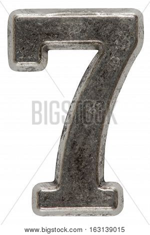 Metal numeral 7 seven isolated on white background with clipping path