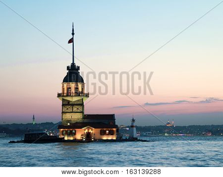 The Maiden's Tower in Istanbul  at Turkey