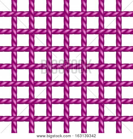 Net of rope in purple design on white background