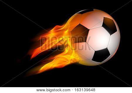 burning flaming soccer ball over black background