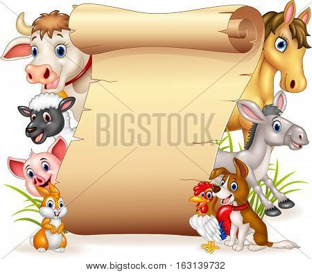 Vector illustration of Cartoon funny farm animals with blank sign