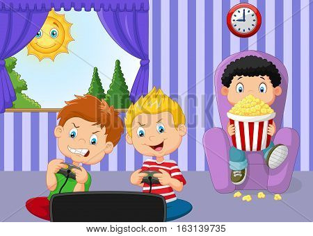 Vector illustration of Little boy playing video game