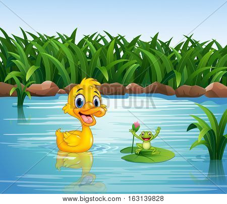 Vector illustration of Cartoon funny duck with frog