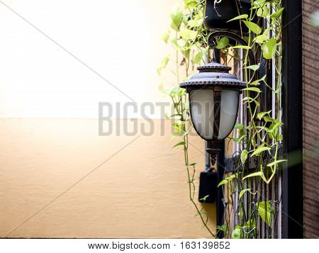 vintage style outside lamp wih the yellow wall background